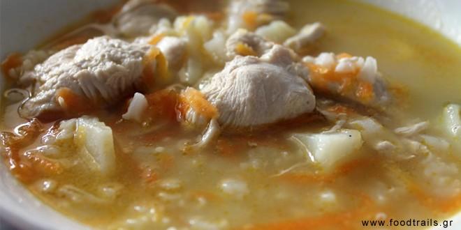 kotosoupa σουπα με κοτοπουλο και ρύζι
